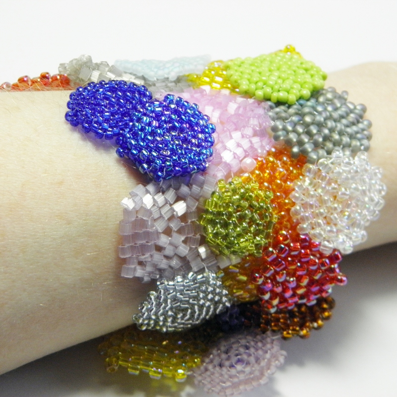 Hexagon patchwork bracelet, stash busting beading projects, Katie Dean