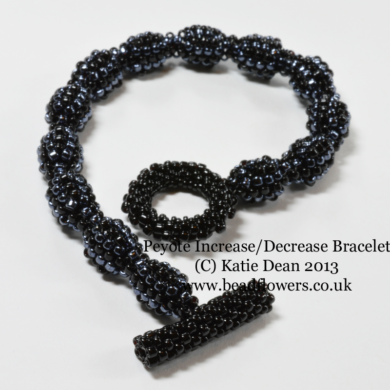 Beginner's Increase, Decrease bracelet tutorial, Katie Dean, Beadflowers. How to learn Peyote stitch, increasing and decreasing in the middle of a row. My World of Beads.