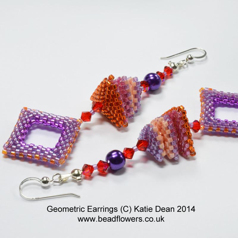 geometric beadwork, beaded earrings, stash busting beading projects, Katie Dean