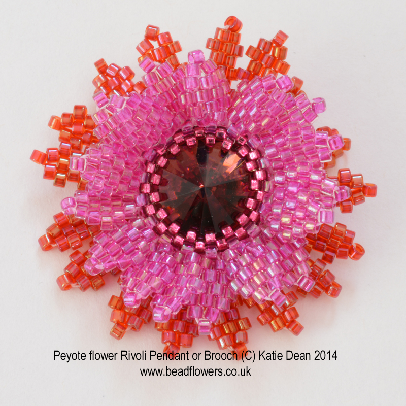 Peyote stitch flower pattern by Katie Dean, Beadflowers. Featured in how to learn Peyote stitch on My World of Beads