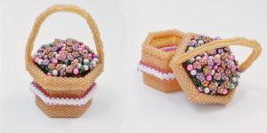 Flower Basket Beaded Box Pattern, Katie Dean