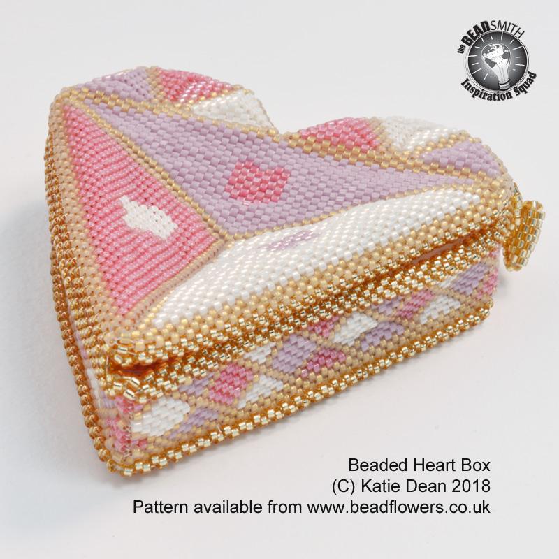 Valentine beading patterns: heart beaded box, Katie Dean, Beadflowers