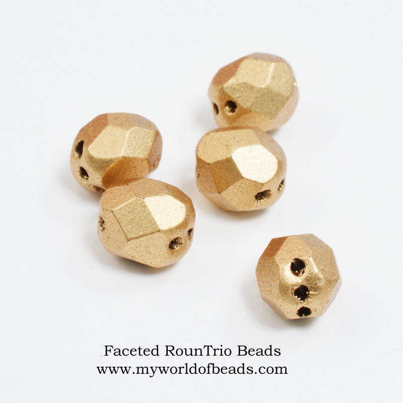 Faceted RounTrio beads: what are they? How to use them. Katie Dean, My World of Beads