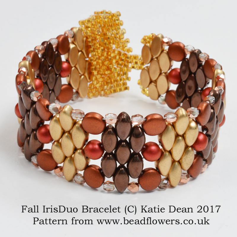 Iris Duo Beads Bracelet, Pattern by Katie Dean, Beadflowers