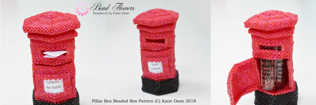 Valentine beading patterns, pillar box beaded box, Katie Dean, beadflowers