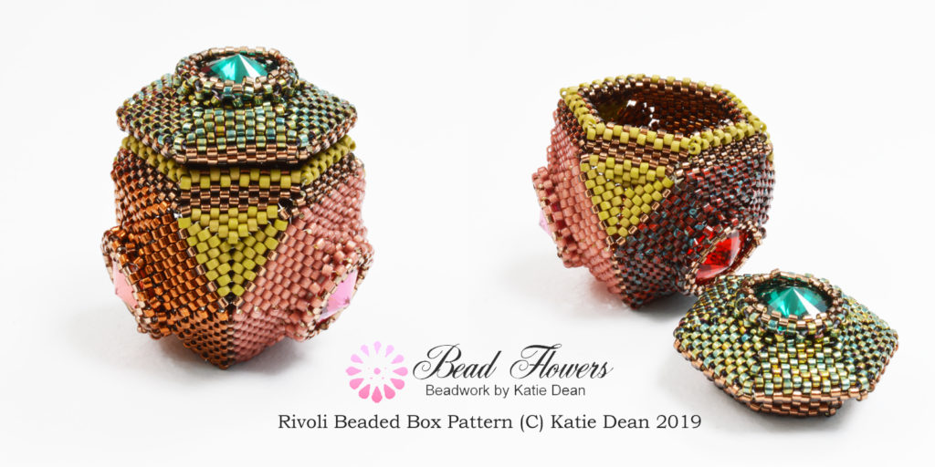 Rivoli beaded box pattern, Katie Dean, stash busting beading projects