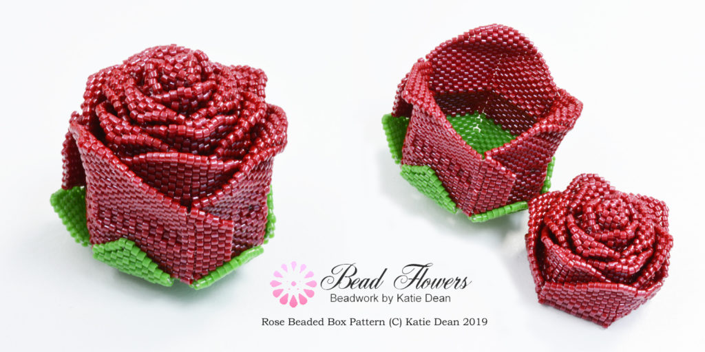 Valentine beading patterns, rose beaded box, Katie Dean, Beadflowers