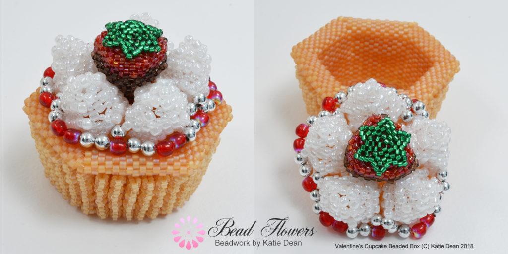 Valentine beading patterns, cupcake beaded box, Katie Dean, Beadflowers