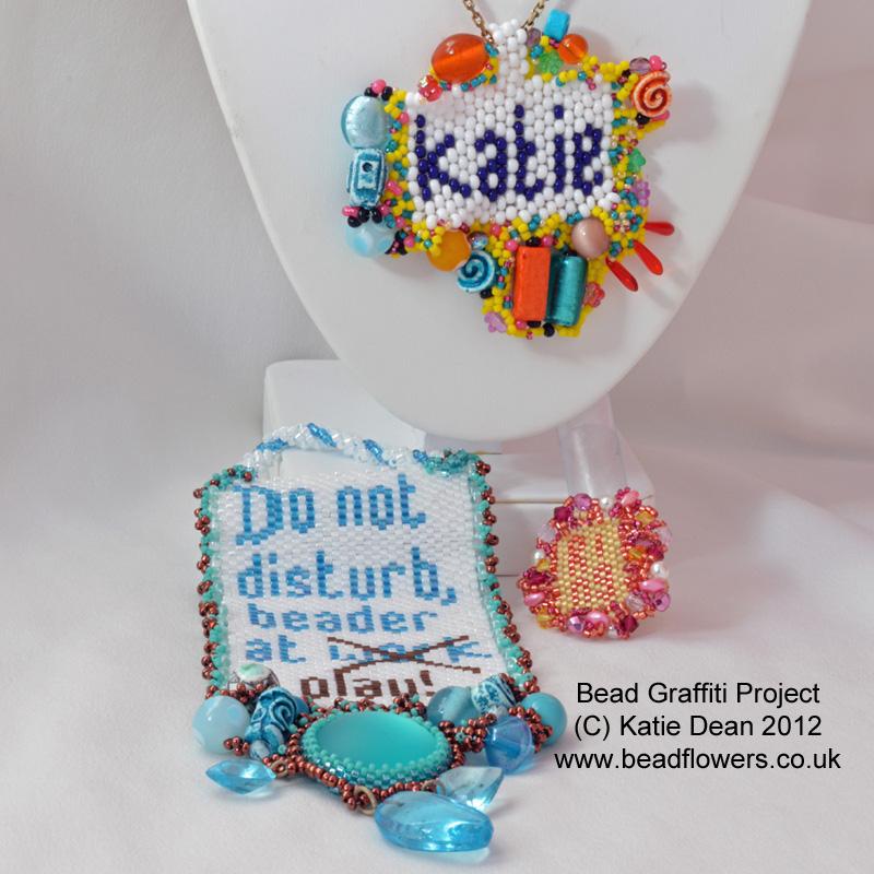 Bead graffitti pattern, stash busting beading projects, Katie Dean