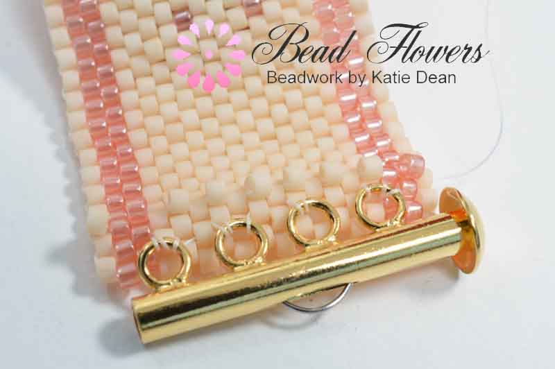 Peyote stitch in the ditch row used for adding a slide clasp, Katie Dean, My World of Beads
