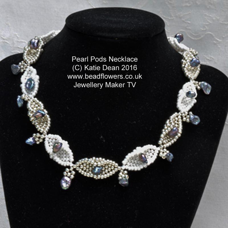 Pearl pods necklace pattern, made with diamond Peyote stitch, Katie Dean, beadflowers