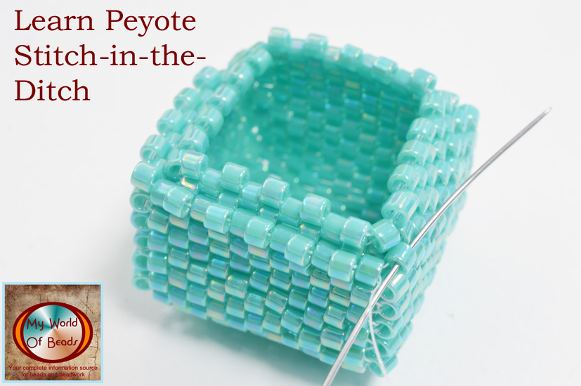 Learn Peyote stitch in the ditch technique for beaded boxes, Katie Dean, My World of beads